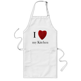 Long kitchen apron I love my kitchen