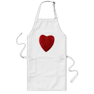Long kitchen apron with motive for heart