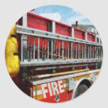 Long Ladder on Fire Truck Classic Round Sticker