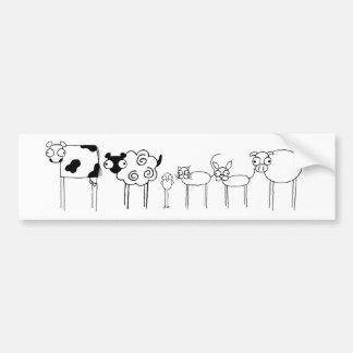 Long-Legged Bug-Eyed Farm Animals Bumper Sticker