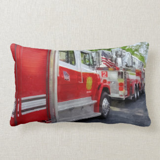 Long Line of Fire Trucks Lumbar Pillow