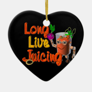Long Live Juicing template Valxart.com Double-Sided Heart Ceramic Christmas Ornament