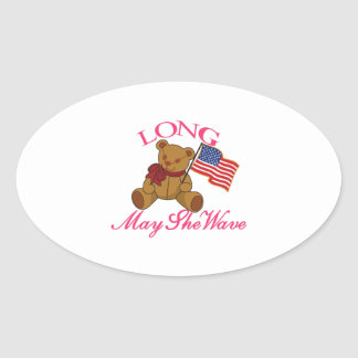 Long May She Wave Oval Sticker