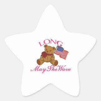 Long May She Wave Star Sticker
