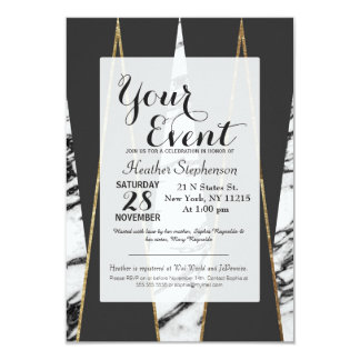 Long Modern Marble Black and Gold Triangles Card