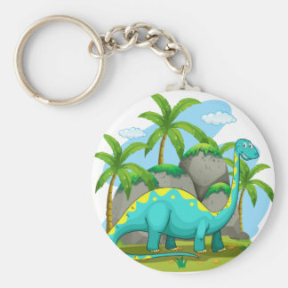 Long neck dinosaur standing in the field basic round button keychain