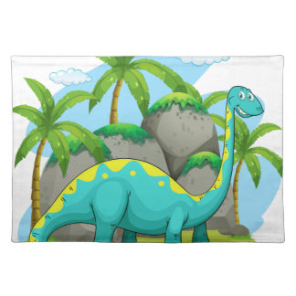 Long neck dinosaur standing in the field cloth place mat