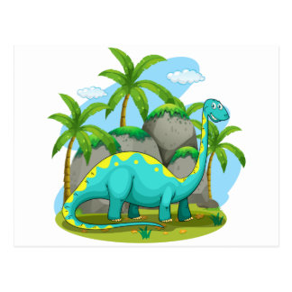 Long neck dinosaur standing in the field postcard