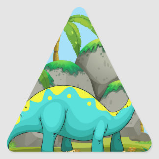 Long neck dinosaur standing in the field triangle sticker