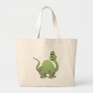 Long Neck Green Dinosaur Cartoon Large Tote Bag