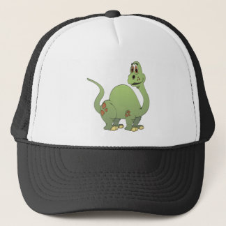 Long Neck Green Dinosaur Cartoon Trucker Hat