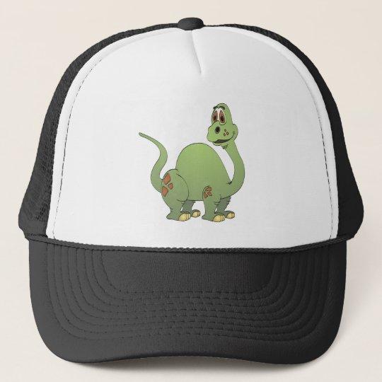 Long Neck Green Dinosaur Cartoon Trucker Hat
