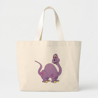 Long Neck Purple Dinosaur Cartoon Large Tote Bag