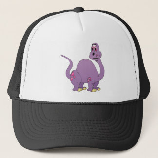 Long Neck Purple Dinosaur Cartoon Trucker Hat