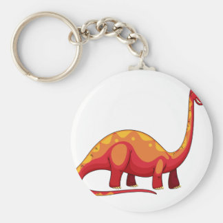 Long neck red dinosaur on white basic round button keychain