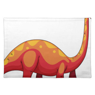 Long neck red dinosaur on white cloth place mat