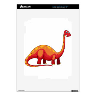 Long neck red dinosaur on white decal for the iPad 2