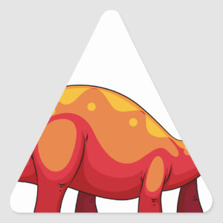Long neck red dinosaur on white triangle sticker
