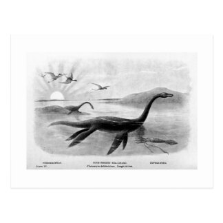 Long-necked sea-lizard art postcard