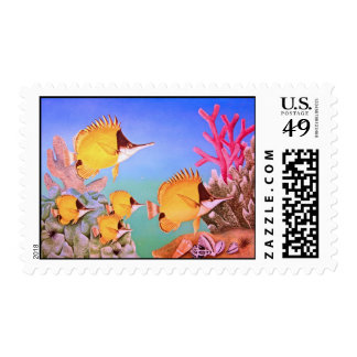 Long-nose Butterfly Fish Postage Stamp