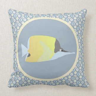 Long Nose Butterfly Fish with Nautical Icons Pillow