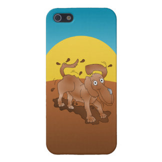 Long nosed dog shaking off the muck cover for iPhone SE/5/5s