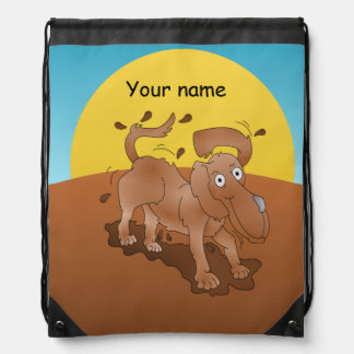 Long nosed dog shaking off the muck drawstring backpack
