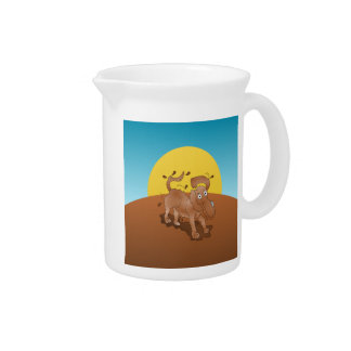 Long nosed dog shaking off the muck drink pitcher