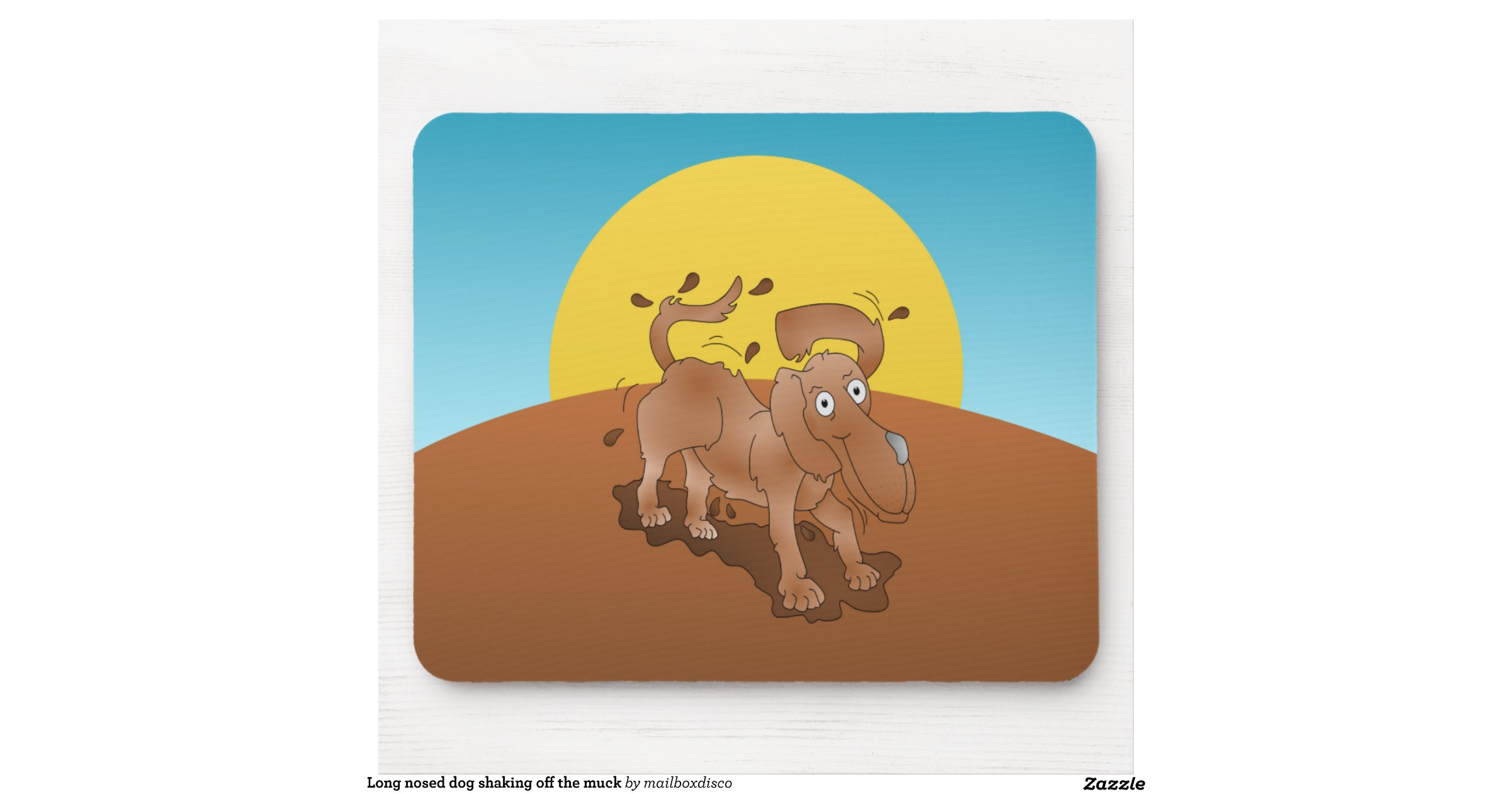 Long Nosed Dog Shaking Off The Muck Mouse Pad Zazzle