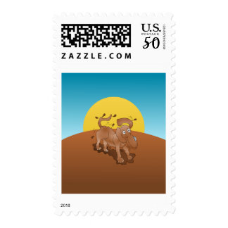 Long nosed dog shaking off the muck postage