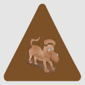 Long nosed dog shaking off the muck triangle sticker
