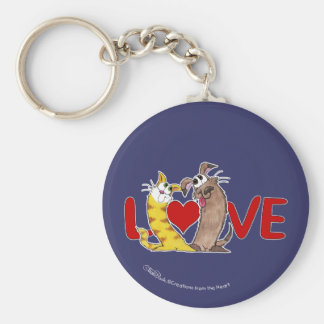 Long on Love-Cat and Dog Basic Round Button Keychain