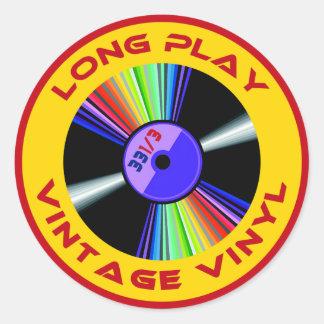 Long Play Vintage Vinyl 33 1/3 Classic Round Sticker