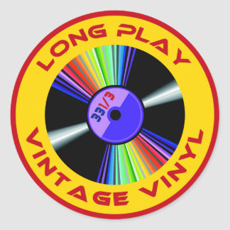 Long Play Vintage Vinyl 33 1/3 Round Sticker