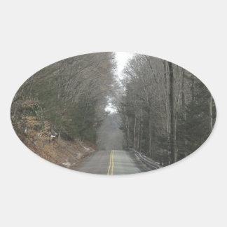 Long road oval sticker