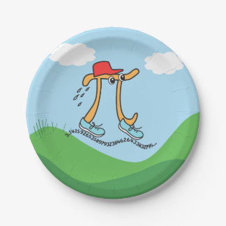 Long Running Pi - Funny Pi Guy 7 Inch Paper Plate