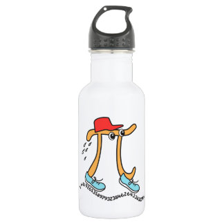 Long Running Pi - Funny Pi Guy Water Bottle
