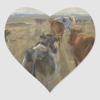 Long Shadows. Cattle on the Island of Saltholm Heart Sticker