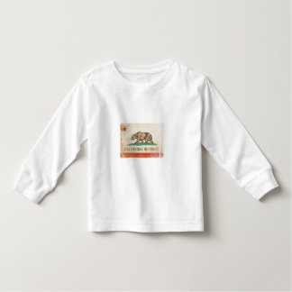 Long Sleeve Toddler Tee with Flag from California