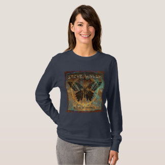 Long sleeved Black Butterfly Women's T-shirt
