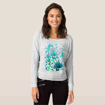 gwena2009 Long sleeved t-shirt with turquoise flower design.