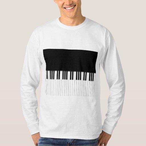 Long Sleeved Top - Piano Keyboard black white T-shirt