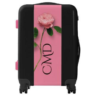 Long Stem Pink Rose Monogram Luggage