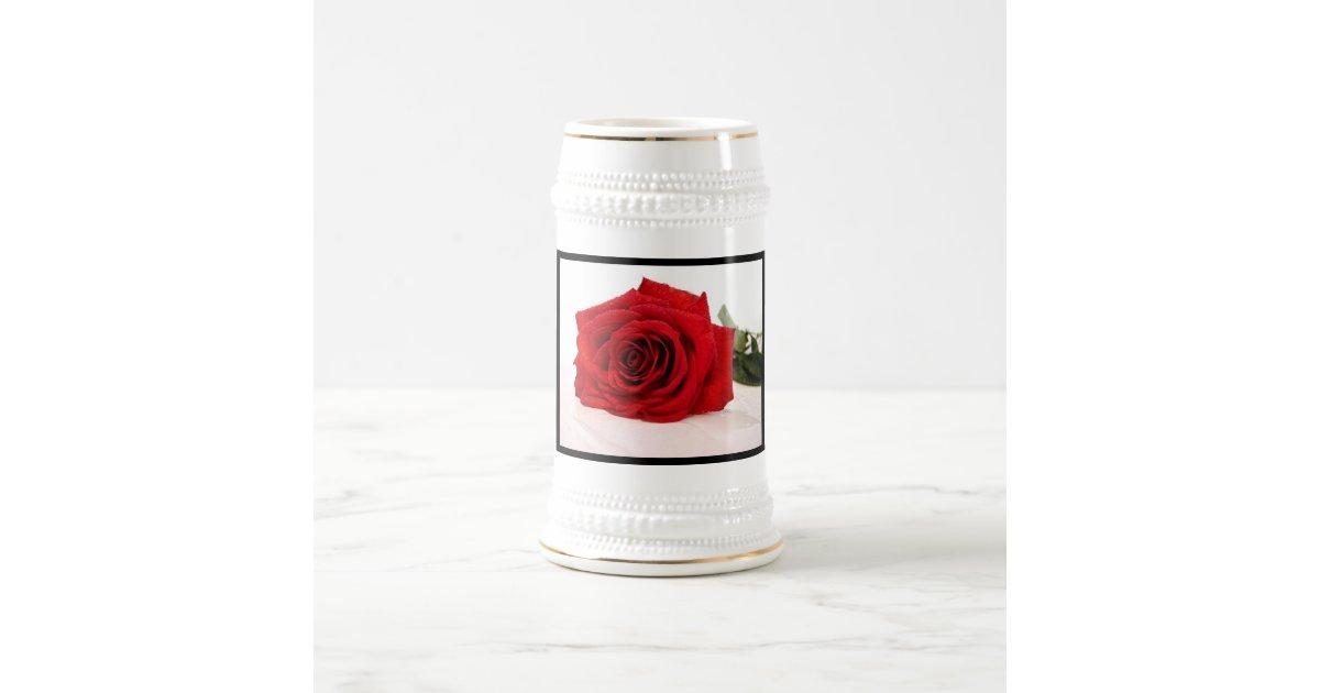 Stein Rose: Long Stem Red Rose Beer Stein