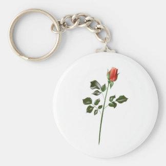 Long stem Red Rose Key Chain