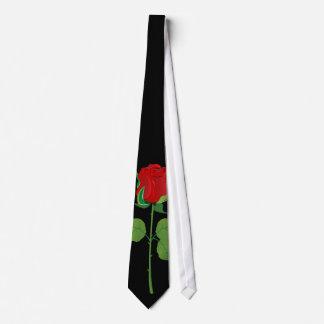 Long Stem Red Rose Neck Tie