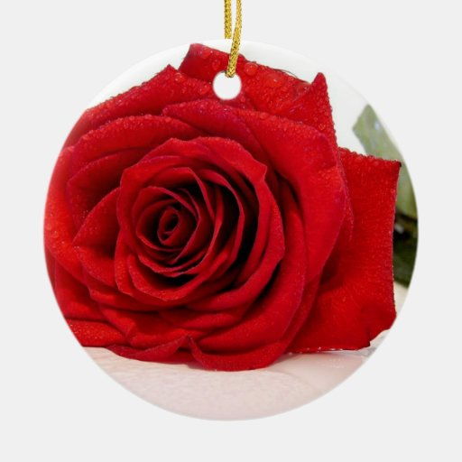 Long Stem Red Rose Ornament