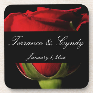 Long Stem Red Rose Personal Wedding Beverage Coaster