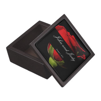 Long Stem Red Rose Personal Wedding Jewelry Box