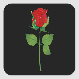 Long Stem Red Rose Square Sticker